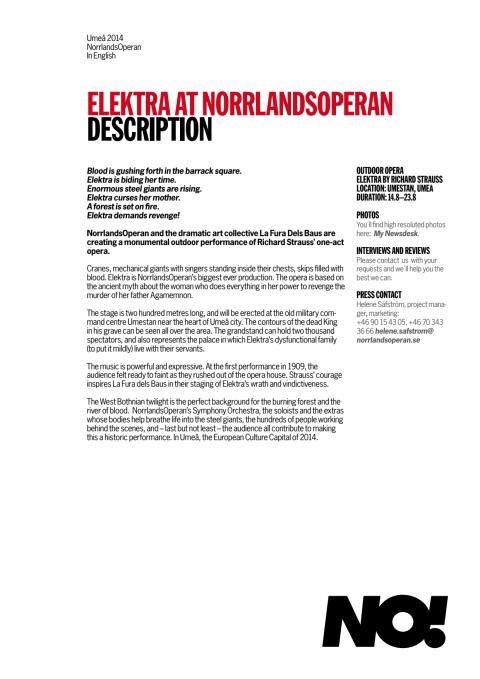 Elektra - press material in english