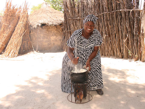 Johanna cooking on EzyStove in Namibia