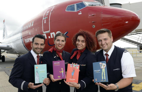 Norwegian crew with their favourite Roald Dahl books