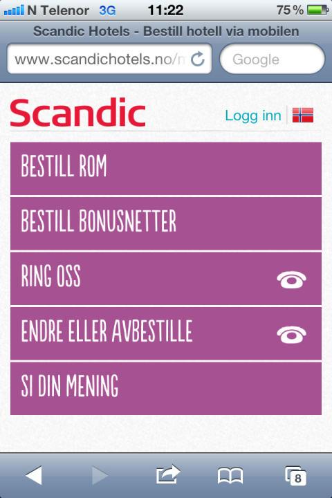 Scandic forenkler hverdagen for sine hotellgjester med mobil webside