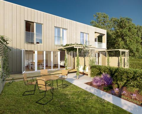 3D-visualisering av Alléhusets fasad.