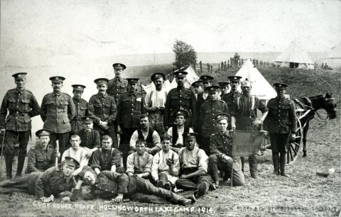 Manchester Territorial Regiments at the Ealees WW1 Camp at Hollingworth Lake
