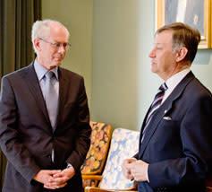 EU Presidenten Herman Van Rompuy besöker Handelshögskolan i Stockholm