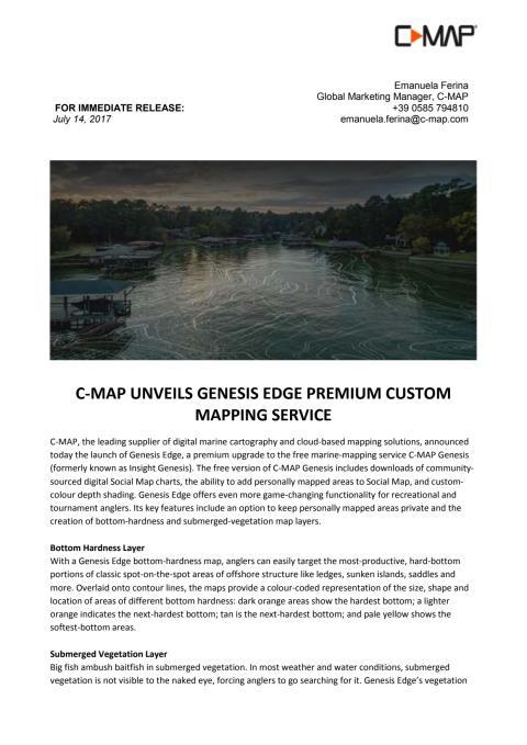 C-MAP Unveils Genesis Edge Premium Custom Mapping Service