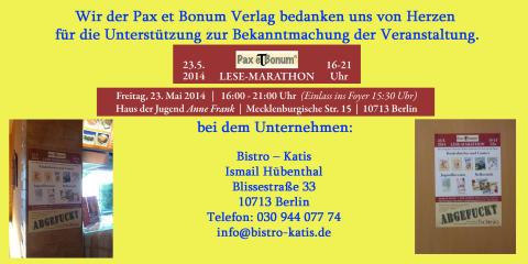Wir der Pax et Bonum Verlag bedanken uns von Herzen bei Bistro – Katis für die Unterstützung zur Bekanntmachung der Veranstaltung.