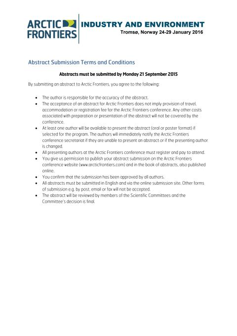 Abstract submission terms and conditions