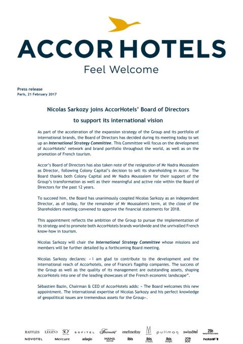 Press Release: AccorHotels Board Directors