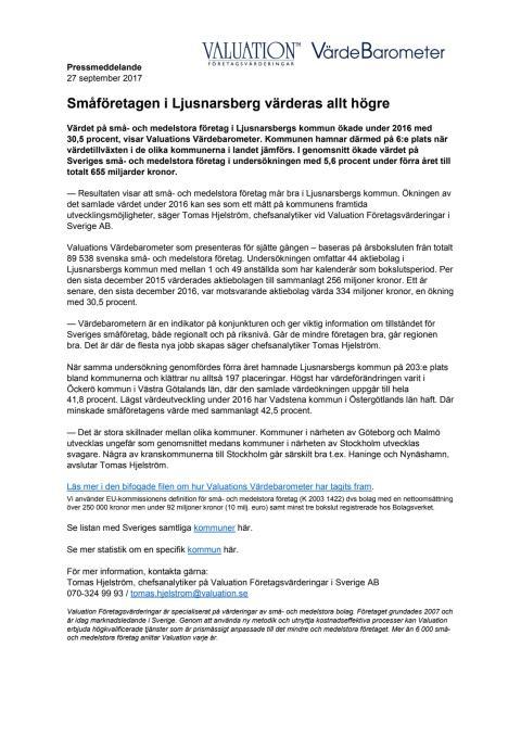 Värdebarometern 2017 Ljusnarsbergs kommun
