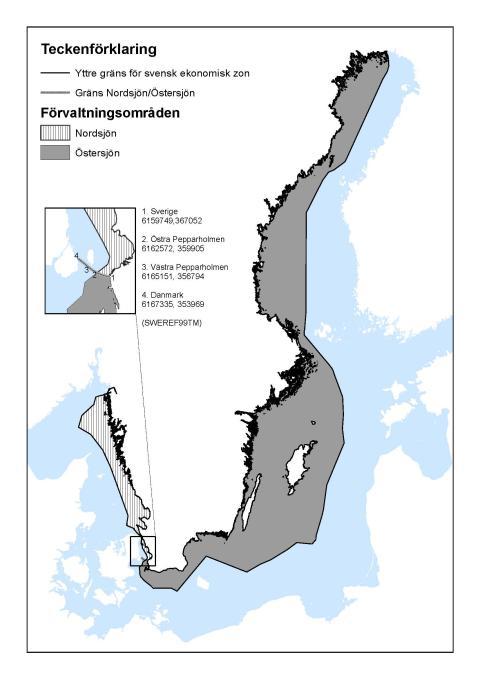 Översikt av de svenska förvaltningsområden i Nordsjön och Östersjön