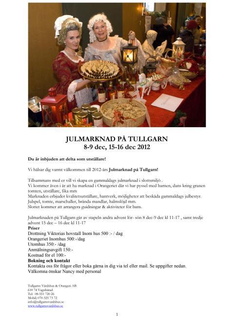 Inbjudan utställare julmarknad på Tullgarn