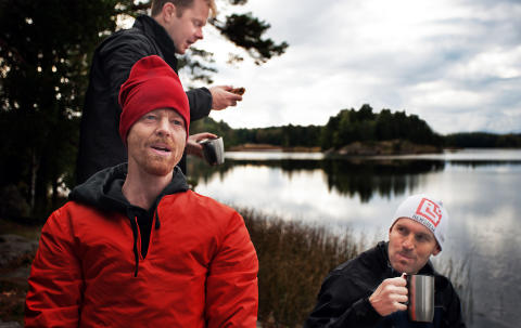 Founders on a hike in the Swedish forests with their awesome team mates