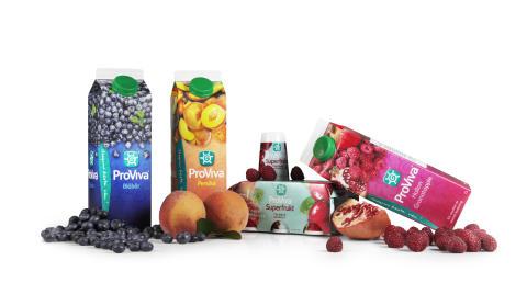 ProViva Persika, Superfrukt, Hallon Granatäpple och Blåbär