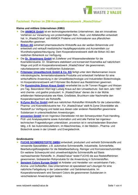 Factsheet Partner im ZIM-KN Waste2Value