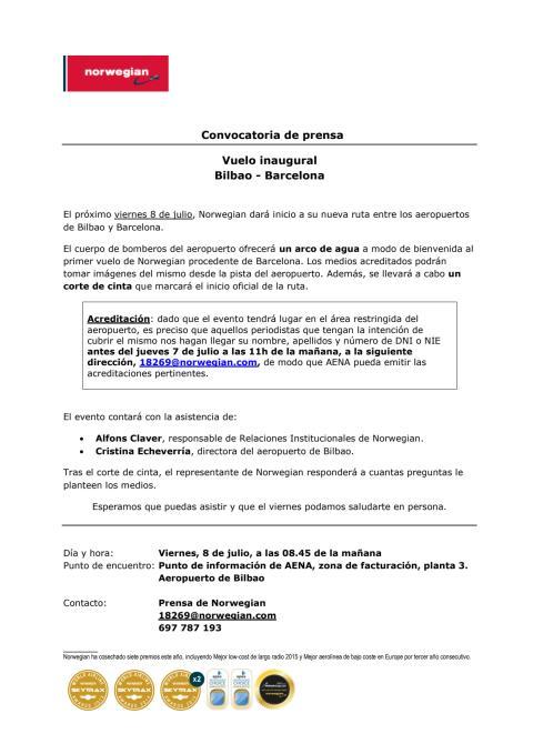 Descarga convocatoria: aeropuerto de Bilbao (viernes, 8 de julio, 08.45 de la mañana).