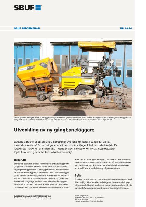 SBUF Informerar, nr. 10-14 - Utveckling av ny gångbaneläggare
