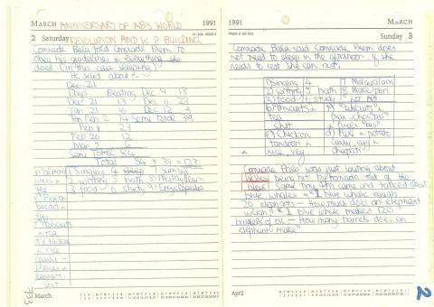 Diary - 1991 - 2nd & 3rd March