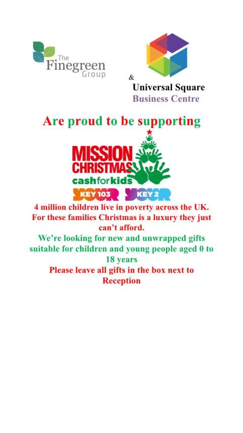Finegreen proudly supporting Key 103's Mission Christmas 'cash for kids'