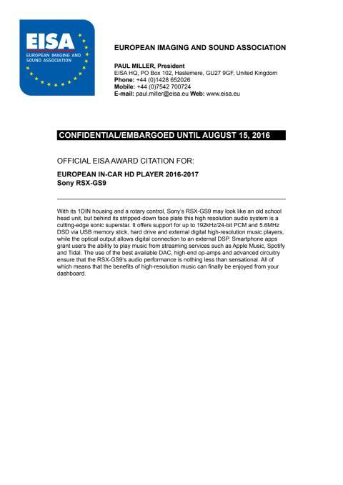 EISA Award Citation_In-Car HD Player