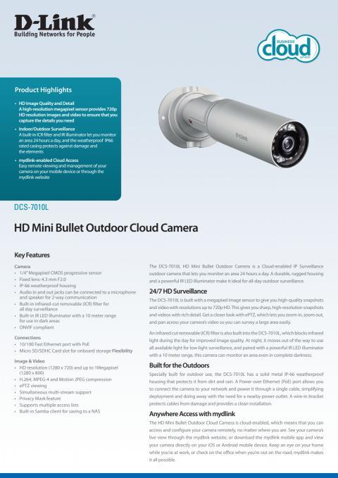 Produktblad, DCS-7010L