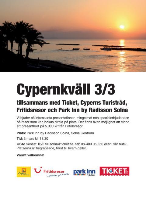 Välkomna till Park Inn och Cypernkväll nu på Torsdag!
