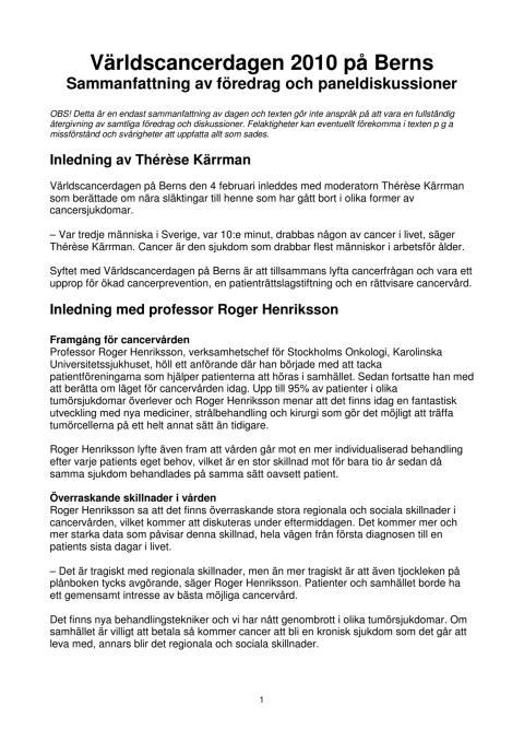 Sammanfattning av Världscancerdagen 4 februari 2010 på Berns