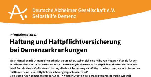 Neues Infoblatt zum Thema Haftung und Haftpflichtversicherung bei Demenz erschienen
