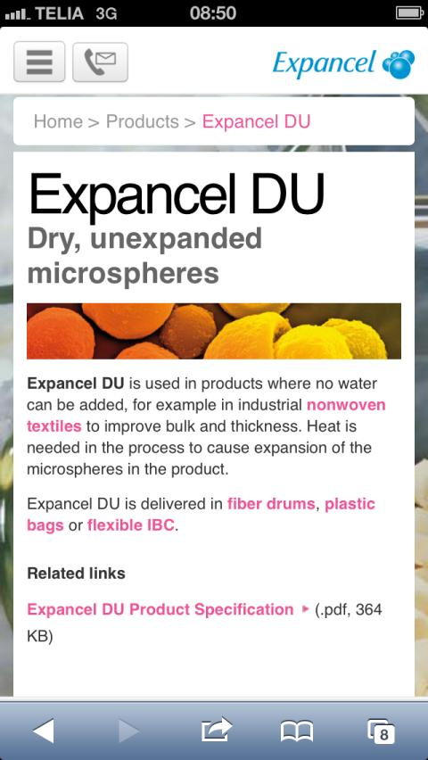 Expancel goes mobile: Expancel Microspheres - dry, unexpanded microspheres