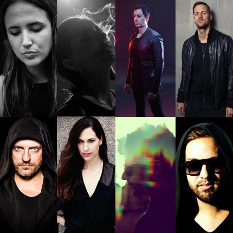 överst från vänster: Bella Sarris, Anja Schneider, Dubfire, Adam Beyer, Sven Väth, La Fleur, Jamie Jones och Maceo Plex