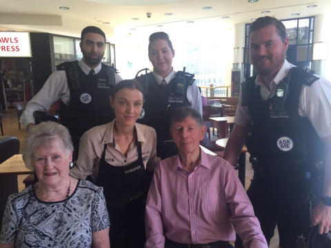 Elderly man is reunited with the officers who came to his aid.