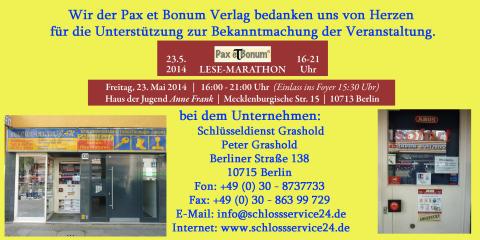 Wir der Pax et Bonum Verlag bedanken uns von Herzen bei Schlüsseldienst Grashold für die Unterstützung zur Bekanntmachung der Veranstaltung.