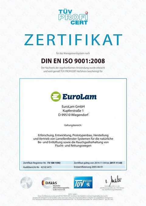 Zertifikat DIN EN ISO 9001 - 2008