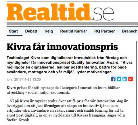 Kivra vinner innovationspris rapporterar Realtid.se