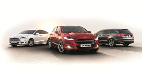 Nye Ford Mondeo vist som 5-dørs, stasjonsvogn og Hybrid-versjonen