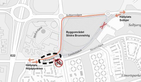 Södra Brunnshög: trafikstörningar i Sölvegatan i augusti