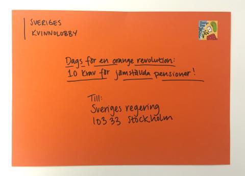 Dags för en orange revolution - 10 krav för jämställda pensioner!