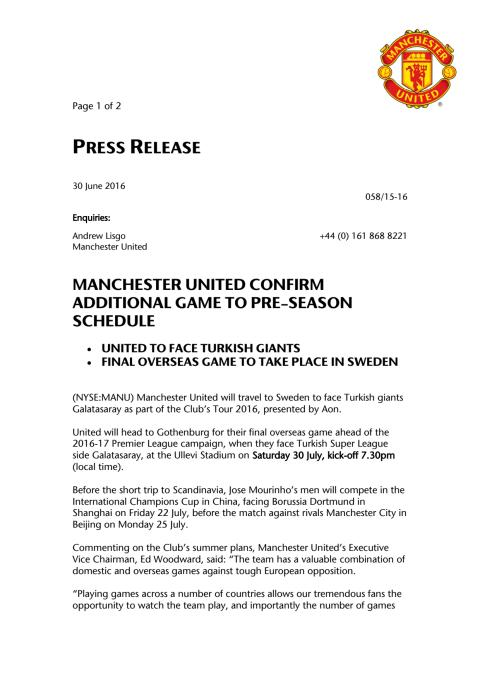 Pressrelease | Manchester United vs Galatasaray at Ullevi, Sweden
