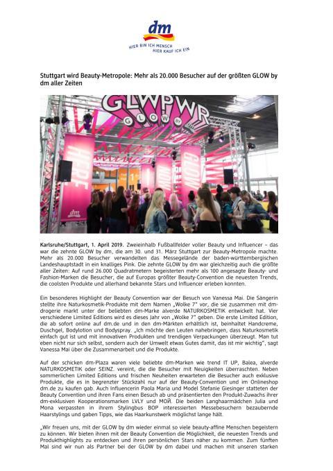 Stuttgart wird Beauty-Metropole: Mehr als 20.000 Besucher auf der größten GLOW by dm aller Zeiten