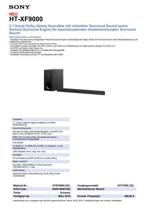 Datenblatt Soundbar HT-XF9000 von Sony