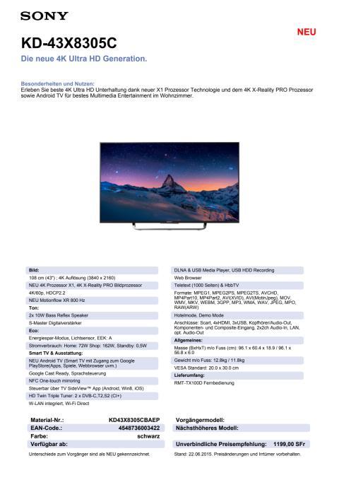 KD-43X8305C von Sony