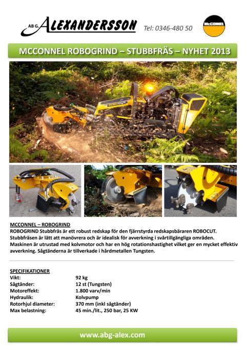 Produktblad: Robogrind Stubbfräs och fjärrstyrda redskapsbäraren Robocut.