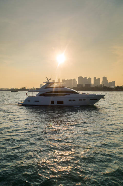 High res image - Princess Motor Yacht Sales - Princess 75 exterior low sun