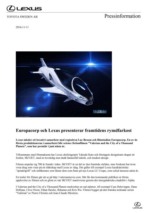 Europacorp och Lexus presenterar framtidens rymdfarkost