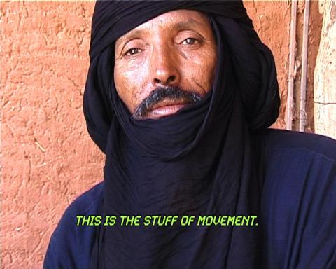 Ursula Biemann, 01_DESERT TRUCK TERMINAL, 02_DESERT RADIO DRONE, 03_INTERVIEW ADAWA, 07_IRON ORE TRAIN, 09_DEPORTATION PRISON LAAYOUNE ur Sahara Chronicle (2006-2007) Video, totalt 37 min.