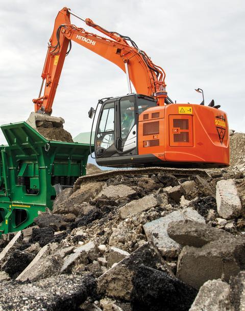 Maskinvisning av Hitachi när Delvator inviger i Trestad