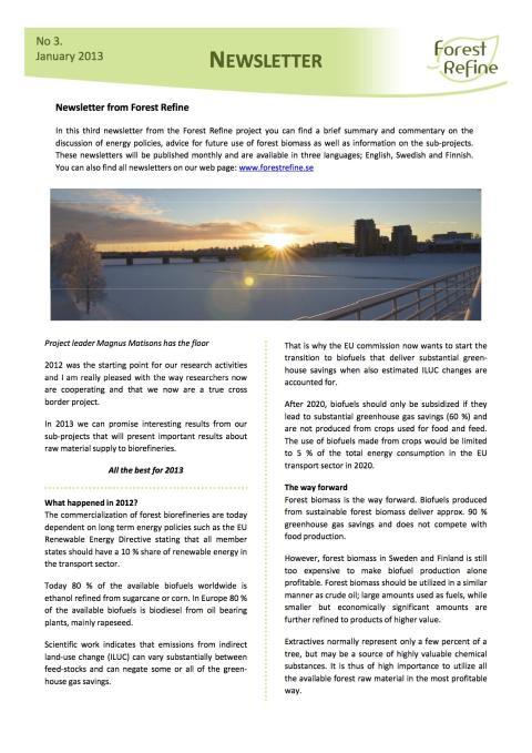 Forest Refine - Newsletter No 3