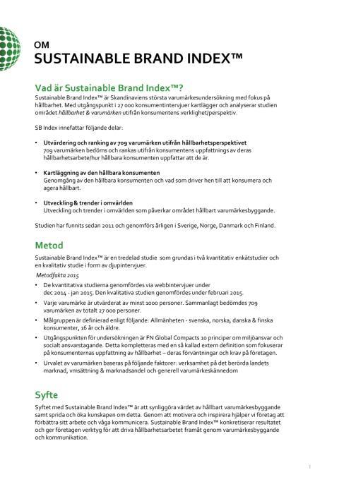 Om Sustainable Brand Index 2015