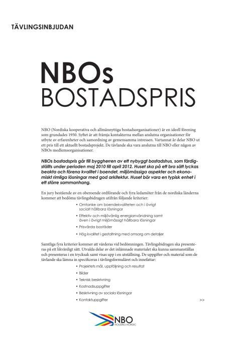 Tävlingsinbjudan NBOs bostadspris 2012