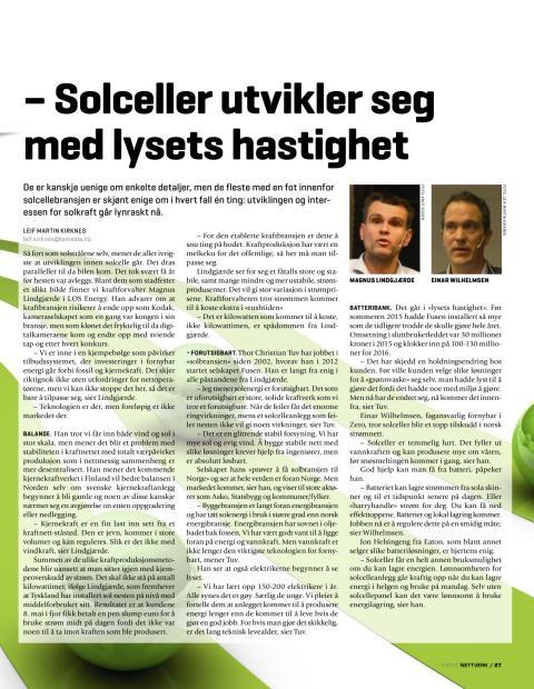 Presseklipp Nettverk - medlemsbladet for El&IT: - Solceller utvikler seg med lysets hastighet