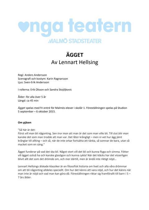 Pressmaterial till ÄGGET