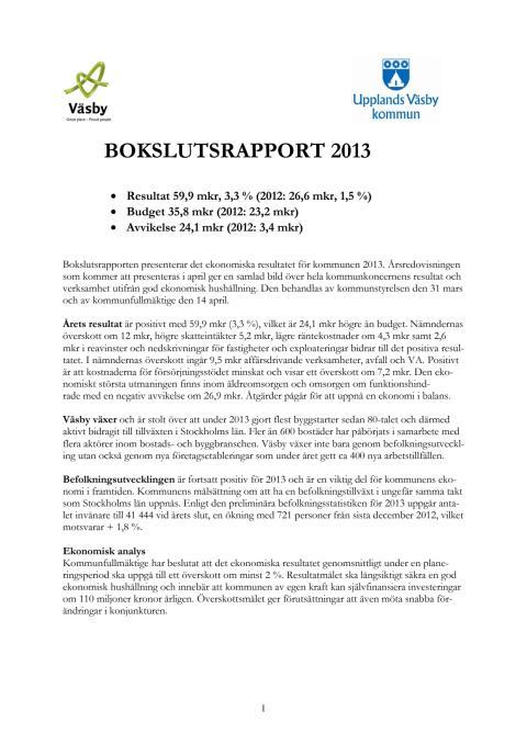 Bokslutsrapport 2013